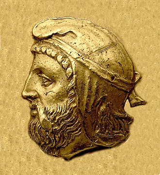 Orontes I - Portrait of Orontes as satrap of Mysia, wearing the satrapal headdress, from his coinage.