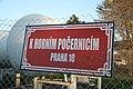 Overview of big street sign at K Horním Počernicím street in Dubeč, Prague.jpg