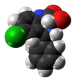 Oxazepam molecule spacefill from xtal.png