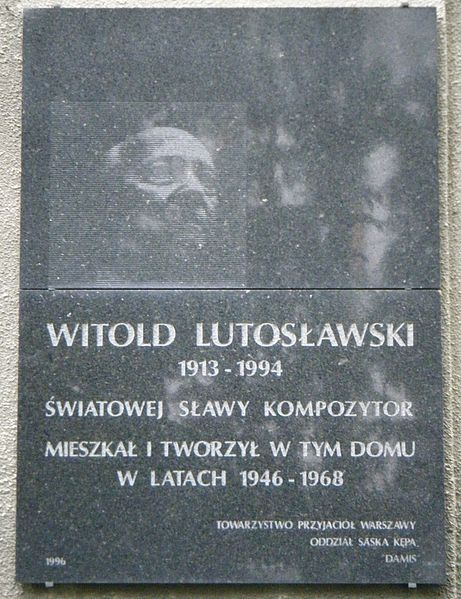 File:POL Witold Lutoslawski plaque, Warsaw 01.jpg