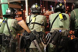 Police Tactical Unit (Hong Kong) - Fully-armoured Police Tactical Unit troopers engaged in riot control during the 2005 WTO meeting protests in Hong Kong.