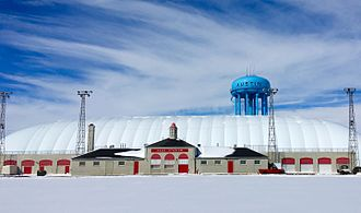 Austin High School (Minnesota) - Packer Dome, a seasonal athletic facility located at Haas Stadium/Wescott Field and managed by Austin Public Schools.