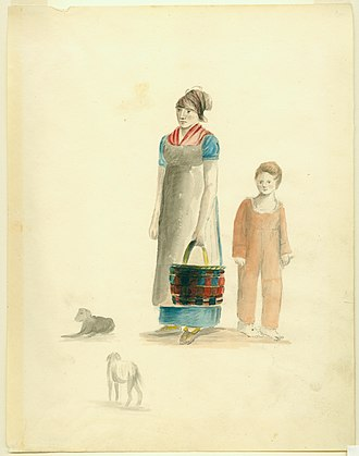 Louisiana Creole people - Painting of Creole Woman and Boy by Anna Maria von Phul, 1818