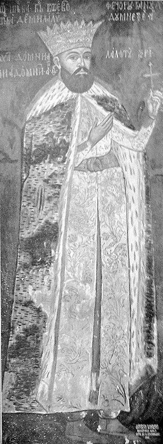 Painting of Wallachian voivode Radu Șerban at Horezu Monastery.jpg