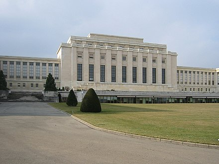 Palace of Nations, Geneva, the League's headquarters from 1936 until its dissolution in 1946 Palais des nations.jpg