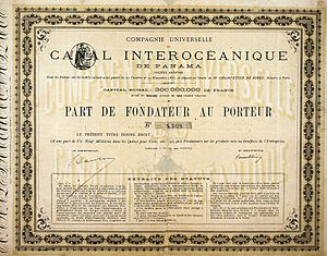 History of the Panama Canal - Part de Fondateur of the Compagnie Universelle du Canal Interocéanique de Panama, issued 29. November 1880