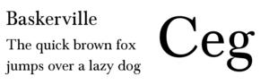 Pangram - English language pangram in Baskerville font