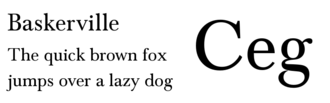 Pangram - English language pangram in Baskerville font