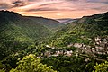 Panoramic sunset in Conques 03.jpg