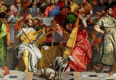 The Musicians Providing Ambience For Wedding At Cana 1563 Are Painters Veronese Viola Da Gamba Jacopo Bano Flute Tintoretto Violin