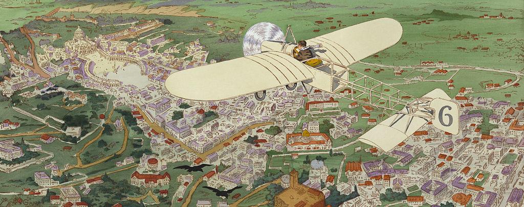 Venir à Rome : Paris–Rome. Beaumont le gagnant sur monoplan Blériot. Illustration de Gamy.
