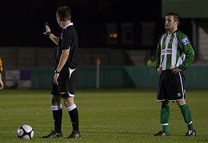 Blyth Spartans A.F.C. - Paul Brayson lines up a free kick for Blyth