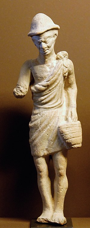 Ancient Greek terracotta statuette of a peasant wearing a pilos, 1st century BC Peasant basket Louvre Myr330.jpg