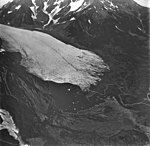 Pederson Glacier, terminus of valley glacier, with trimline along valley wall, and banded ogives, September 4, 1977 (GLACIERS 6717).jpg