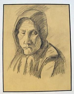 Agnes Weinrich - Drawing of an old woman by Agnes Weinrich, graphite on paper, 11.5 x 7.5 inches.
