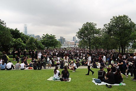 "Online groups called on people to ""picnic"" on the morning of 12 June at Tamar Park. People in Tamar Park 20190612.jpg"