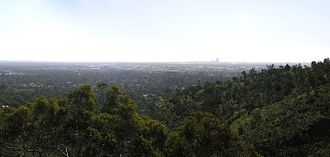 Lesmurdie, Western Australia - Panorama of Perth with the CBD on the horizon, taken from Lesmurdie Falls