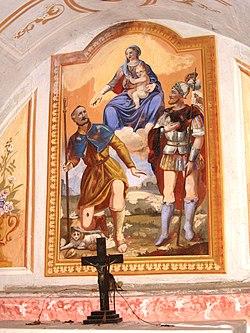 Pezzolo Valle Uzzone. Gorrino.Piovero - Cappella di San Rocco La Vergine San Rocco e San Martino.jpg