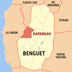 Map of Benguet with Kapangan highlighted