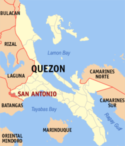 Map of Quezon showing the location of San Antonio