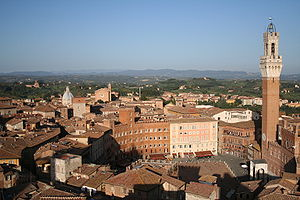 Siena - View of Piazza del Campo (Campo Square), the Mangia Tower (Torre del Mangia) and Santa Maria in Provenzano Church