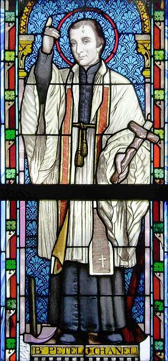 Peter Chanel - Pierre Chanel (Petelō Saineha), window of the Catholic Church of Lapaha, Tonga