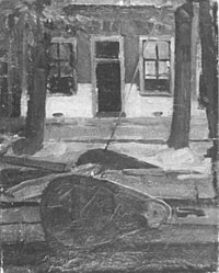 Piet Mondriaan - Truncated view of tjalk and house façade - A257 - Piet Mondrian, catalogue raisonné.jpg