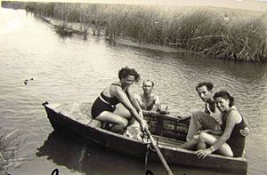 Na'aman River - Rowing on Na'aman River, c. 1940-1950