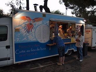 Vence - A pizzeria operated from the back of a van in the centre of Vence.