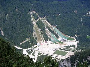 Planica - View of the ski jumping centre from Mt. Ciprnik (July 2016)