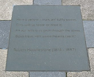Ulster Scots dialects - Poetry by Robert Huddlestone (1814–1887) inscribed in paving in Writers' Square, Belfast