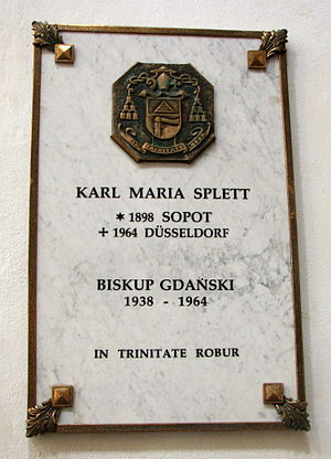 Carl Maria Splett - Plaque at Oliwa Cathedral