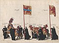 Plate 32- Men with heraldic flags and horses from Overijssel and Utrecht marching in the funeral procession of Archduke Albert of Austria; from 'Pompa Funebris ... Alberti Pii' MET DP874773.jpg