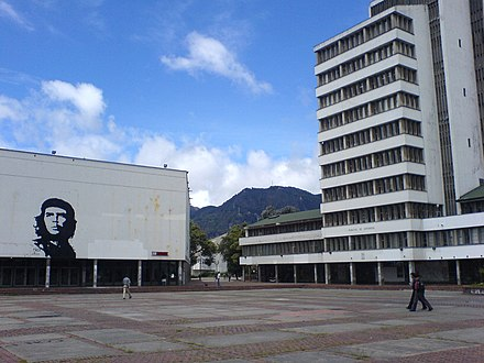 The Leon de Greiff Auditorium (left building) is considered a National Monument and is home to the Bogota Philharmonic Plaza Che, Bogota.jpg