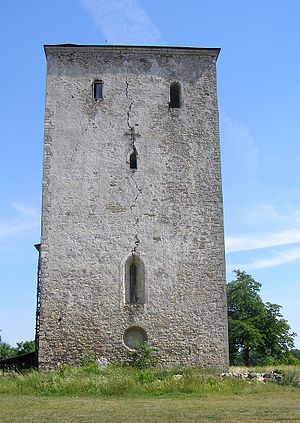 Pöide Church - Tower of the church. Note the crack made by a lightning bolt.
