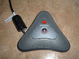 A Polycom microphone/speaker. This example is ...