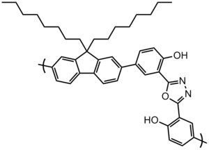 Polyfluorene - This polyfluorene derivative photoluminesces light green (the vial on the right in the image above), the alcohol (-OH) side chains can participate in ESIPT with the neighboring oxadiazole nitrogens causing a red-shifted emission. The meta-linkages in the backbone impart solubility in lieu of multiple side chains.