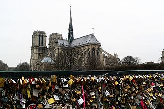 Pont de l'Archevêché - Pont de l'Archevêché covered with 'love padlocks' - 2012
