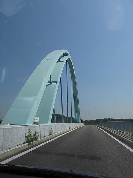 Bridge over the highway Autoroute A19 at the rest area of Villeroy, France