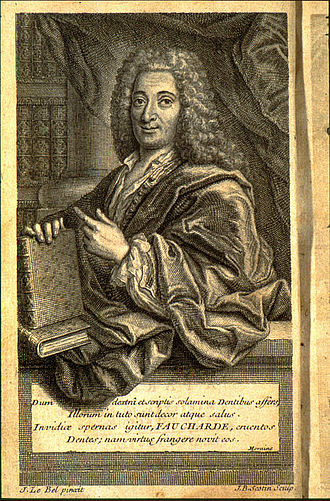 "Pierre Fauchard - Portrait' of the 1728 version of Doctor Fauchard's book, the ""Surgical dentist""."