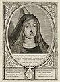 Portret van Geertruida van Saksen, gravin van Holland. Zij was regentes gedurende de minderjarigheid van Dirk V. De omlijsting is versierd met het wapen van Holland. NL-HlmNHA 1477 53012900.JPG