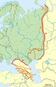 europe asia border line map Boundaries between the continents of Earth   Wikipedia