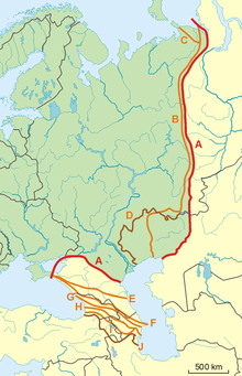 Possible definitions of the boundary between Europe and Asia.png