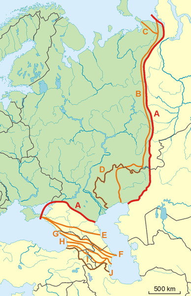 map of europe asia border File:Possible definitions of the boundary between Europe and Asia