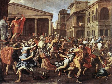 Rape of the Sabine Women, by Nicolas Poussin, Rome, 1637-38 (Louvre Museum) Poussin RapeSabineLouvre.jpg