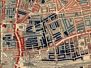 "19th-century London - Part of Charles Booth's poverty map showing the Old Nichol, a slum in the East End of London. Published 1889 in Life and Labour of the People in London. The red areas are ""middle class, well-to-do"", light blue areas are ""poor, 18s to 21s a week for a moderate family"", dark blue areas are ""very poor, casual, chronic want"", and black areas are the ""lowest class...occasional labourers, street sellers, loafers, criminals and semi-criminals""."