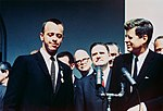 President John F. Kennedy congratulates NASA's Distinguished Service Medal Award recipient astronaut Alan Shepard.jpg