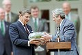 President Ronald Reagan Meeting with Garret Fitzgerald Prime Minister of Ireland Ceremony in Rose Garden to Receive Shamrocks in a Waterford Bowl (retouched).jpg