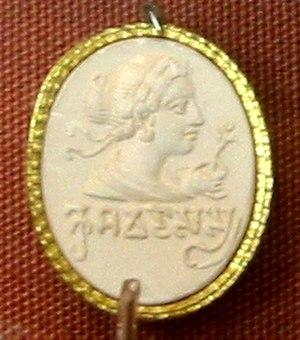 "Legacy of the Indo-Greeks - A Greco-Roman-style carnelian seal from the Punjab region, with Brahmi inscription ""Kusumadasasya"" (""Flower-Servant""). 4–5th century CE. British Museum."