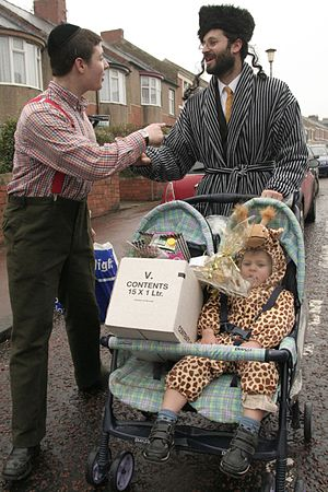Purim greetings in Gateshead on Purim.